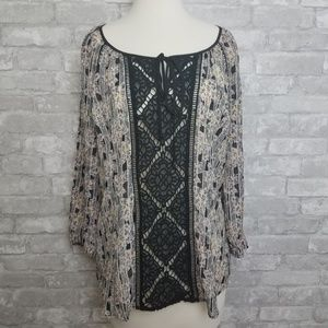 Anthro | Sm Meadow Rue Semi Sheer Floral Tunic Top